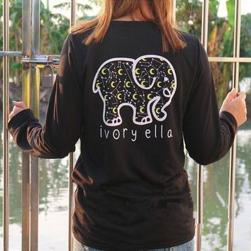 DCCKN6V Women Fashion Casual Long Sleeve Cute Elephant Pattern Sweatshirt Ivory Ella Letters Printed Pocket Pullover Tops G