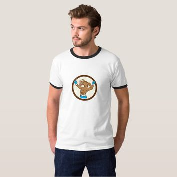 Stag Deer Happy Head Circle Cartoon T-Shirt