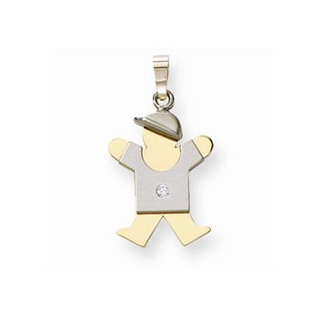 14k Gold Two-tone AA Diamond Kid Pendant