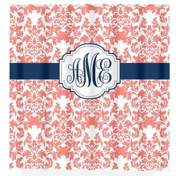 Damask SHOWER CURTAIN Coral Navy Custom MONOGRAM Personalized Bathroom Decor Damask Bathroom Bath Towel,  Bath Mat