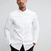 ASOS Casual Slim Oxford Shirt With Stretch In White at asos.com