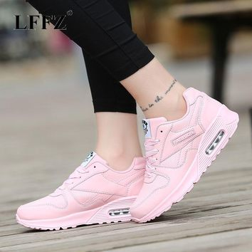 Lzzf Women Shoes Designer PU Leather Spring Casual Shoes Outdoor Walking Sneakers Shoes Woman Flats Lace Up Women Tenis Feminino