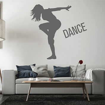 kik2521 Wall Decal Sticker girl dancing movement living room bedroom teen dance school