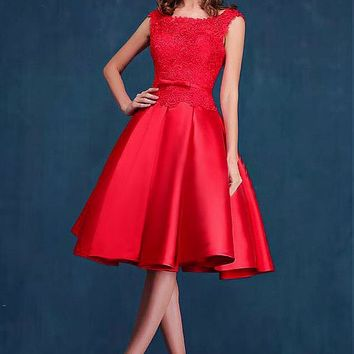 [99.99] Attractive Satin & Lace Bateau Neckline A-line Homecoming Dress - Dressilyme.net