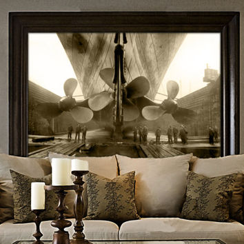Titanic Photo 1911 RMS old Titanic Propellers Ship Photo Amazing Black & White Ship Steamship steampunk Old Photograph Home decor poster