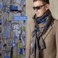Abstract Logic / Nuno Felt Art Scarf for Man - Only Lu