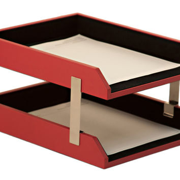 Dacasso Office Desk Paper Mesh Storage Organizer Red Contemporary Leather Double Letter Trays