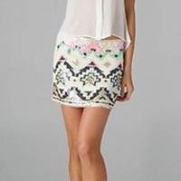 Coral Sequin Geometric Design Skirt. Color Coral