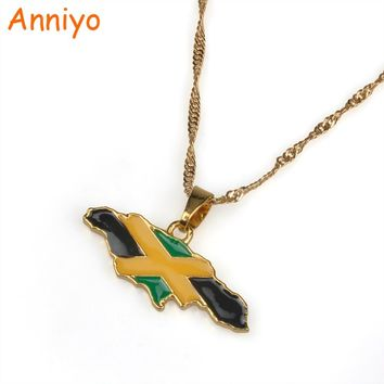 Anniyo Jamaica Map and National flag Pendant Necklaces Gold Color Jewelry Jamaican Gifts #080406