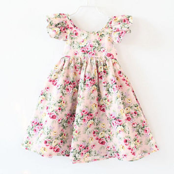 summer dress for baby girls clothes print vintage floral  Size 2-6T