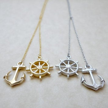 Anchor and wheel lariat necklace, Nautical lariat necklace, Wedding jewelry, Bridesmaid gift, Simple everyday necklace