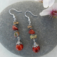 "Jasper and Unakite Dangle Earrings ""Earthy Dangles"""