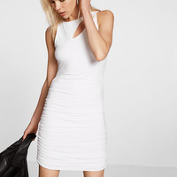 ruched slash neck sheath dress
