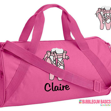 Custom Embroidered Monogrammed DANCE Bag Ballet Hot Pink Duffel Bag Childrens Kids Girls Teen Backpack tote School Camp Personalized
