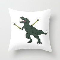 Unstoppable T-rex Throw Pillow by DanielBergerDesign