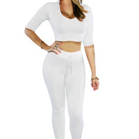 White Hooded Crop Top with Legging Pant Set