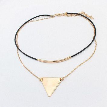 New Fashion Retro Geometric Triangle Pendant Collar Double chains leather simple choker necklace gift for women girl  122908