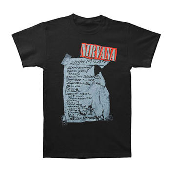 Nirvana Men's  Milan Set List T-shirt Black Rockabilia