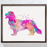 Cavalier King Charles Spaniel Art Print, Watercolor King Charles Spaniel, King Charles Spaniel Poster, Watercolor Dog, Dog Painting, Pink