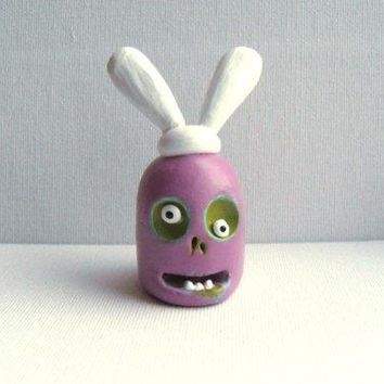 Easter Decoration   The Easter Zombie   Clay Sculpture   Zombie Sculpture   Zombie With Easter Bunny's Ears   Ooak