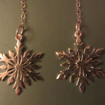 "Sterling Silver Snowflake Dangle Earrings 3 1/8"" - 2.88g"