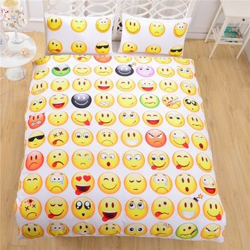 Emoji Bedding 3D Duvet Cover Set Cheap 3D Duvet Cover Single Twin Full Queen 3D Bed Fashion Style For 3D Comforters Queen 3pcs