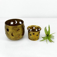 Brass Candle Holders Votive Celestial Crescent Moon Stars Decor Vintage Home Bedroom Bathroom Accents