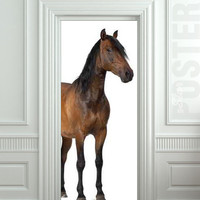 "GIANT Door Wall STICKER decole horse wild poster 31x79""(80x200 cm)"
