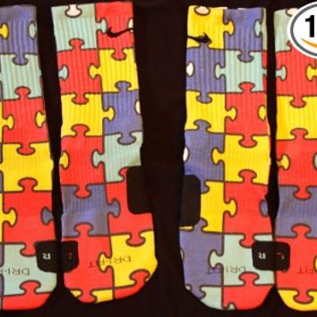 Autism Awareness Custom Nike Elite Socks Large Fits shoe size 8-12