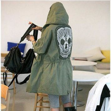 Women Jacket Hooded green Skull embroidery casual
