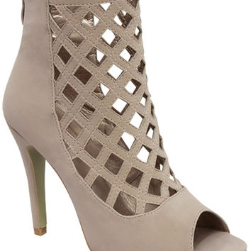 Francesca Caged Booties-Taupe