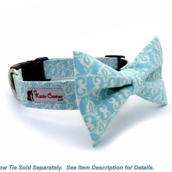 White & Teal Damask Preppy Dog Collar (Matching Bow Tie Available)