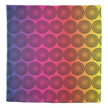 Concentric Mosaic Circles Pattern Duvet Cover