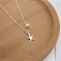 Fashion Cute Gift 925 silver starfish pendant necklace with a fresh water pearl D2775-0414