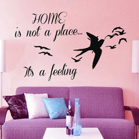 Bird Wall Decal Quote Home Is Not a Place It's a Feeling Vinyl Stickers Home Sea Gull Mural Bedroom Interior Design Living Room Decor KI60