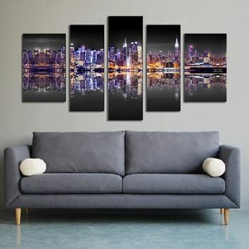 5PCS Canvas Art Modular Pictures Night Art Painting for Home Landscape Wall Painting Print Modern Home Decor Paintings NO FRAME