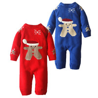 New Born Baby Boy Girl Winter Romper Snowsuit Christmas Baby Rompers Snow Clothing Wear For Newborns Snowman Fleece Knit Clothes