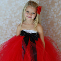 Santa Christmas Tutu Dress Red Black and White 8-10 years