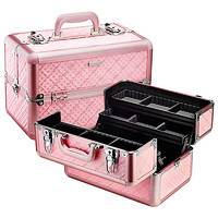 """SEPHORA COLLECTION Embossed Traincase – Pink Quilted (14"""" W x 8.5"""" H x 9"""" L)"""