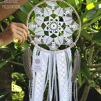 "Large dreamcatcher with white doily 9"", Crochet boho wedding decor, Doily dream catcher with pheasant feathers, Kids room or nursery decor"