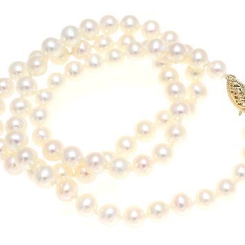 """5.8-6.4MM GENUINE FRESH WATER CULTURED PEARL NECKLACE STRAND 18"""" 14K GOLD CLASP"""