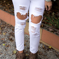 Favorite Ripped Jeans - White - Final Sale