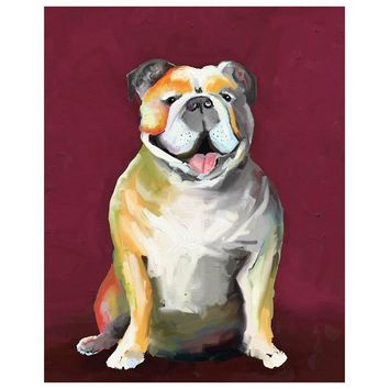 Best Friend - Bulldog On Maroon Wall Art