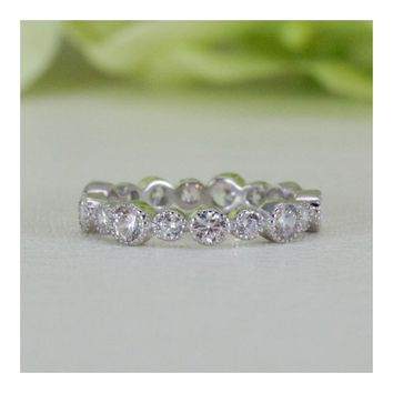 Vintage Art Deco Style Cubic Zirconia Eternity Wedding Band Ring