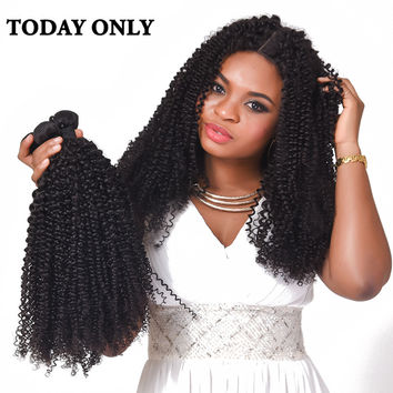 "Today Only Deep Curly Weave Human Hair Bundles Brazilian Hair Weave Bundles Non-remy Hair Extensions Natural Black Color 8""-28"""