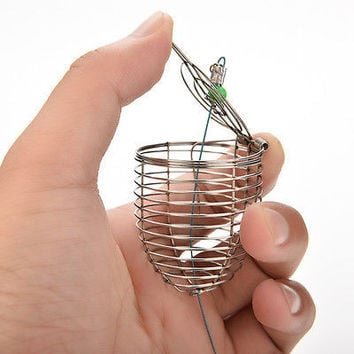 Bait Cage Fishing Trap Basket Feeder Holder Stainless Steel Wire Coarse CAHU