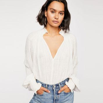 Casual Solid Elastic Smocked Top Victorian-inspired Textured Blouse Plunging V-neckline Sexy Tops Women Shirts Blouses