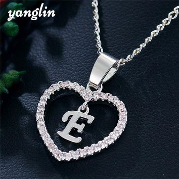 Punk Sliver Crystal Hollow Love Heart Pendant Necklace Capital 26 Letters Necklace For Women Initial Name Necklace Personalized