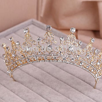 Red/Clear Wedding Bridal Crystal Tiara Crowns Princess Queen Pageant Prom Rhinestone Veil Tiara Headband Wedding Hair Accessory