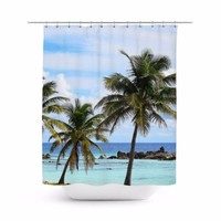 Playa Chen Rio - Shower Curtain, 71x74 Inches, Beach Palm Trees Bathroom Decor